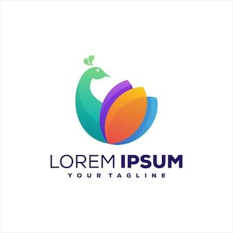 Diseño de logotipo degradado de color pavo real