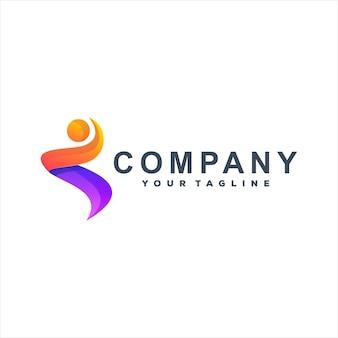 Diseño de logotipo degradado de color de personas