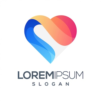 Diseño de logotipo degradado colorido amor