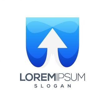 Diseño de logotipo degradado colorido flecha