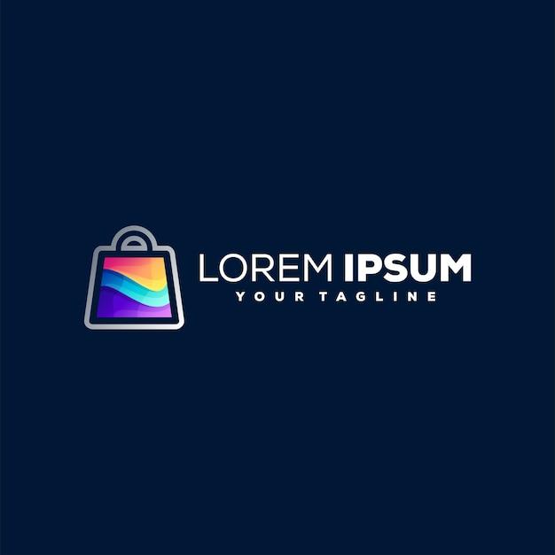 Diseño de logotipo degradado de compras en línea