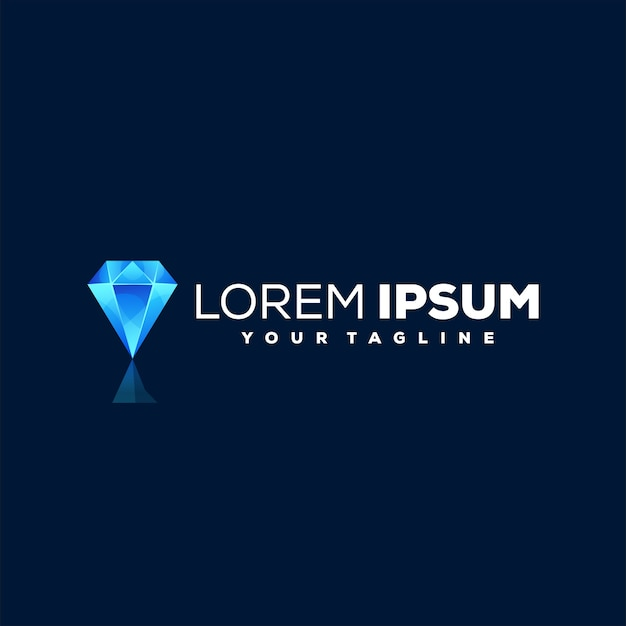 Diseño de logotipo degradado de diamante azul