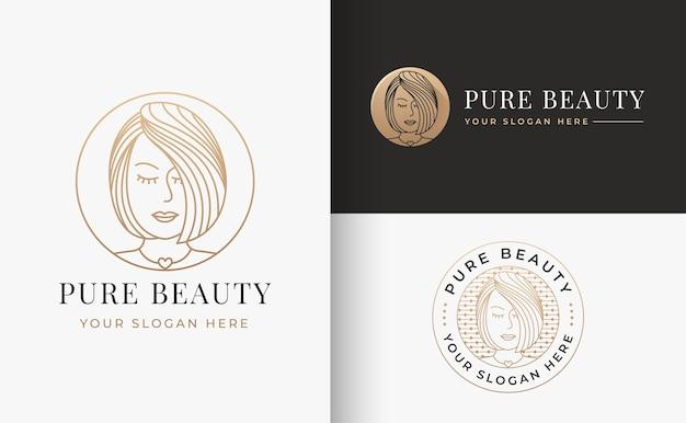 Diseño de logotipo degradado dorado de peluquería de lujo para mujer