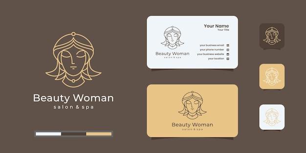 Diseño de logotipo degradado dorado de peluquería de mujer elegante y diseño de tarjeta de visita
