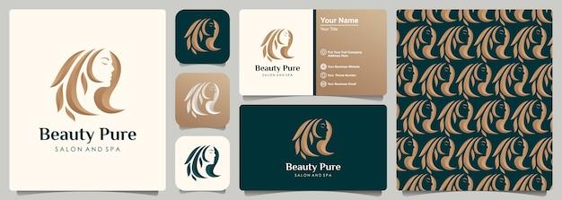 Diseño de logotipo degradado dorado de peluquería de mujer