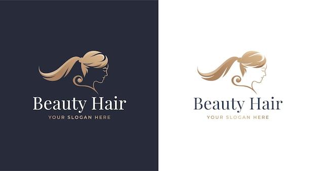 Diseño de logotipo degradado dorado de salón de hoja de pelo de mujer