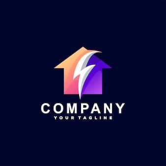 Diseño de logotipo degradado flash de casa