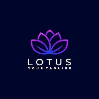 Diseño de logotipo degradado de flor de loto
