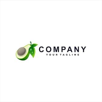 Diseño de logotipo degradado de fruta de aguacate