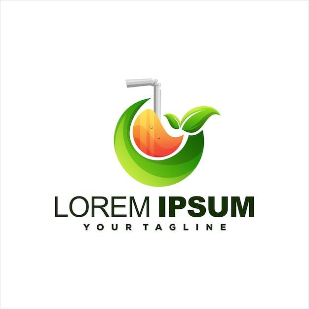 Diseño de logotipo degradado de fruta de jugo