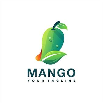 Diseño de logotipo degradado de fruta de mango
