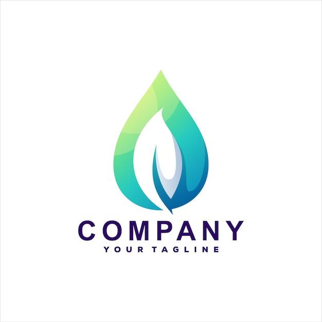 Diseño de logotipo degradado de gota de hojas