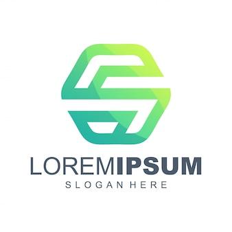 Diseño de logotipo degradado hexagonal s