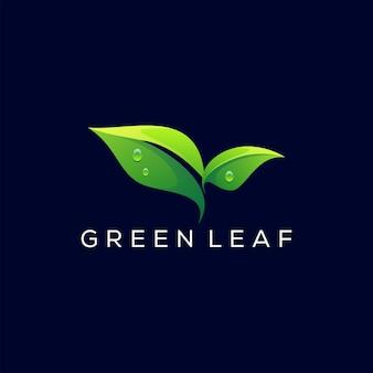 Diseño de logotipo degradado de hoja verde