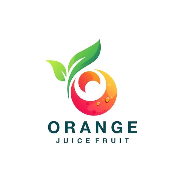 Diseño de logotipo degradado de jugo de naranja
