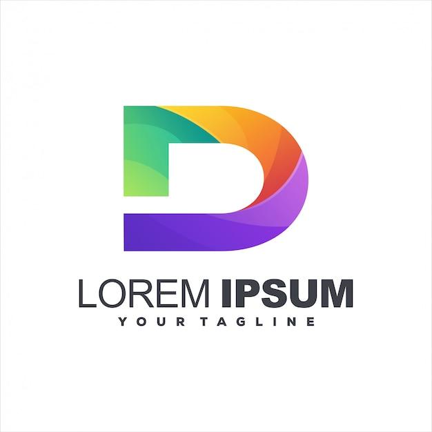 Diseño de logotipo degradado letra d