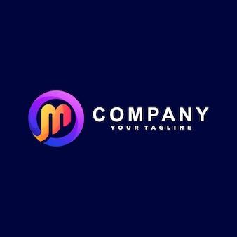 Diseño de logotipo degradado letra m