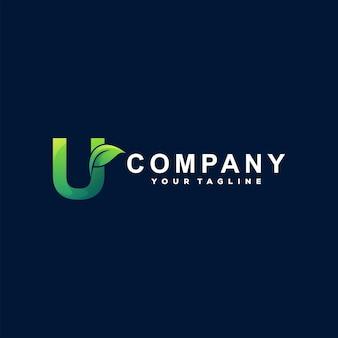 Diseño de logotipo degradado letra u