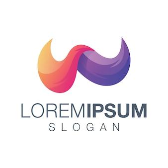 Diseño de logotipo degradado de letra w