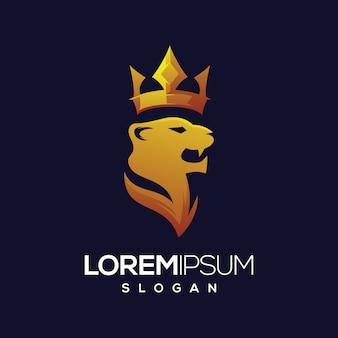 Diseño de logotipo degradado de logo de corona de tigre