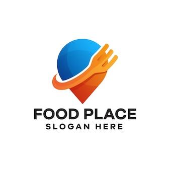 Diseño de logotipo degradado de lugar de comida