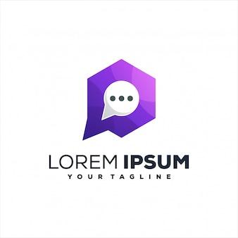 Diseño de logotipo degradado de medios de chat
