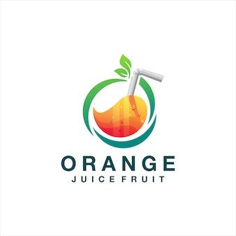 Diseño de logotipo degradado naranja jugo