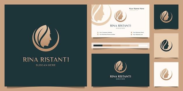 Diseño de logotipo degradado de oro de peluquería de mujer de belleza y tarjeta de visita.