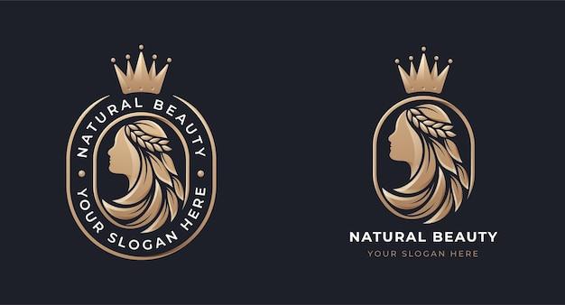 Diseño de logotipo degradado de oro de salón de hoja de pelo de mujer