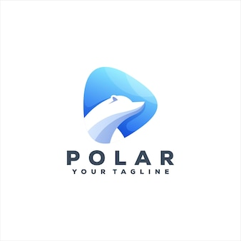Diseño de logotipo degradado de oso polar