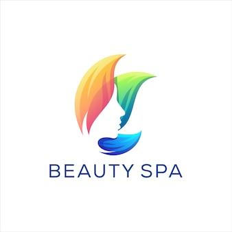 Diseño de logotipo degradado de spa de belleza