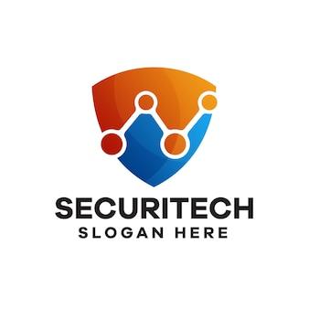 Diseño de logotipo degradado de tecnología de seguridad