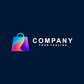 Diseño de logotipo degradado de tienda online