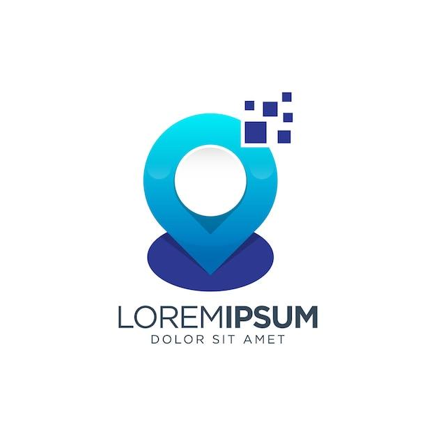 Diseño de logotipo degradado de ubicación digital