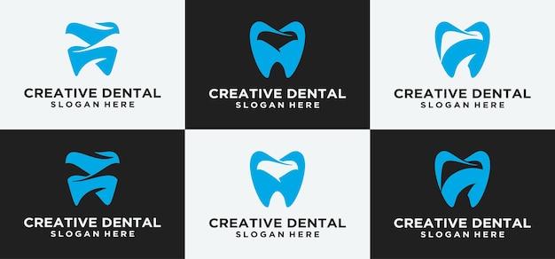 Diseño de logotipo dental logotipo de implante dental clínica dental dentista dental abstracto con diseño de lujo