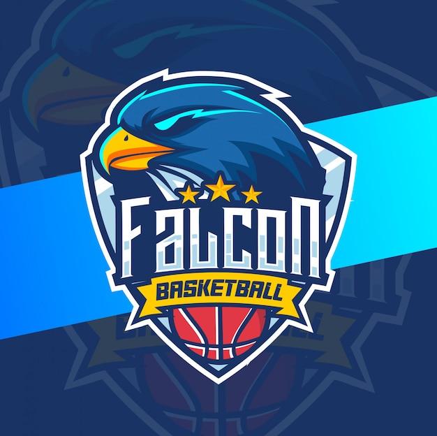 Diseño de logotipo de deporte de baloncesto de mascota de halcón