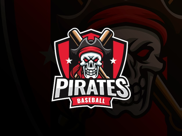Diseño de logotipo de deporte de béisbol. insignia de vector de béisbol profesional moderno. plantilla de vector de diseño de logotipo de béisbol pirata cráneo