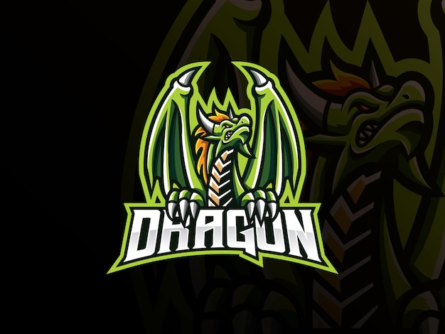 Diseño de logotipo de deporte de mascota de dragón