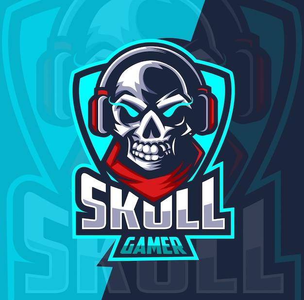 Diseño de logotipo de deporte de mascota de jugador de cráneo