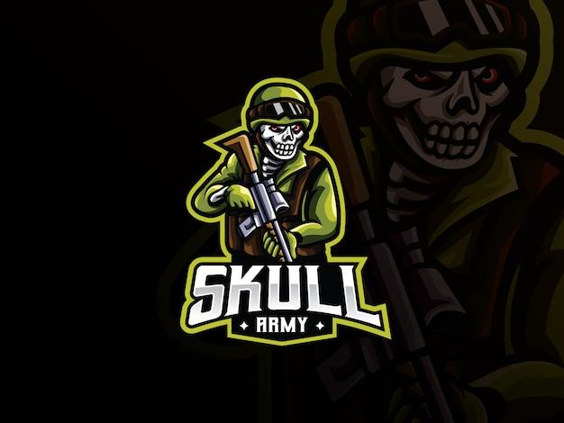 Diseño de logotipo de deporte de mascota militar cráneo