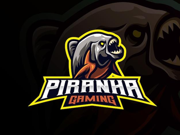 Diseño de logotipo de deporte de mascota de piraña