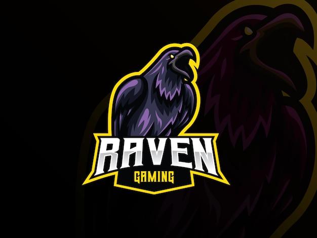 Diseño de logotipo de deporte de mascota raven
