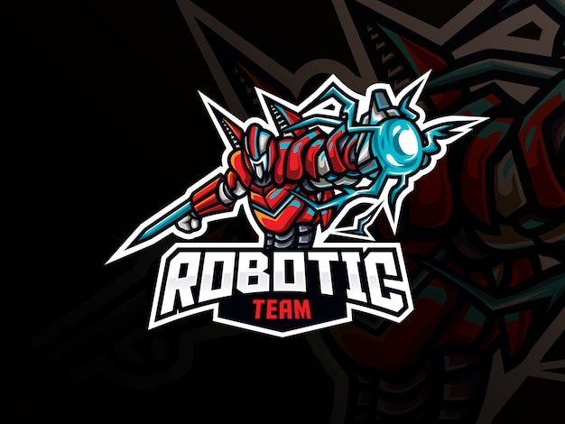 Diseño de logotipo de deporte de mascota robot