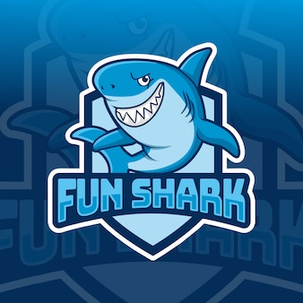 Diseño de logotipo de deporte de mascota de tiburón divertido
