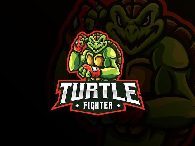 Diseño de logotipo de deporte de mascota de tortuga