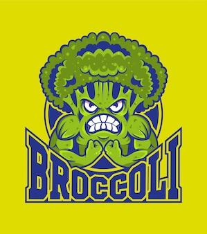 Diseño de logotipo deportivo de brócoli musculoso fuerte de dibujos animados. mascota personaje de dibujos animados concepto de comida sana.