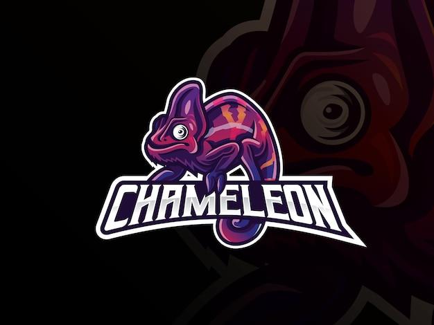 Diseño de logotipo deportivo de mascota camaleón