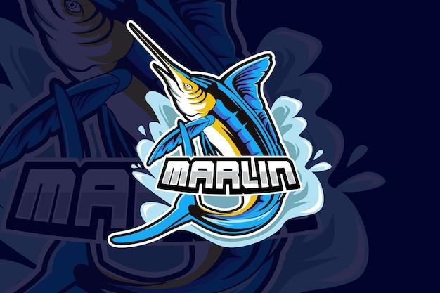 Diseño de logotipo deportivo de mascota marlin