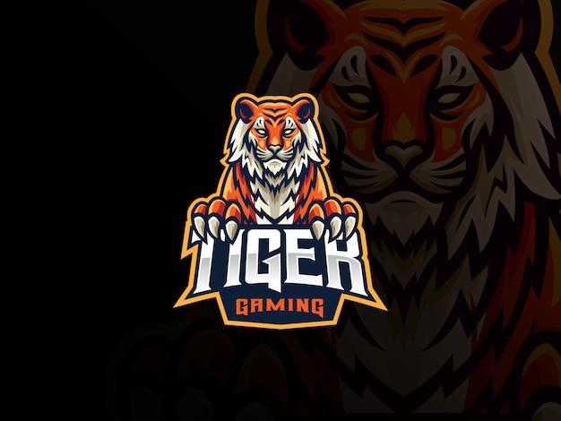 Diseño de logotipo deportivo mascota de tigre