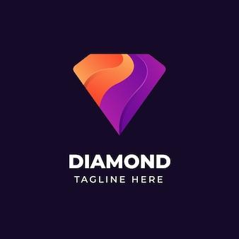 Diseño de logotipo de diamante colorido